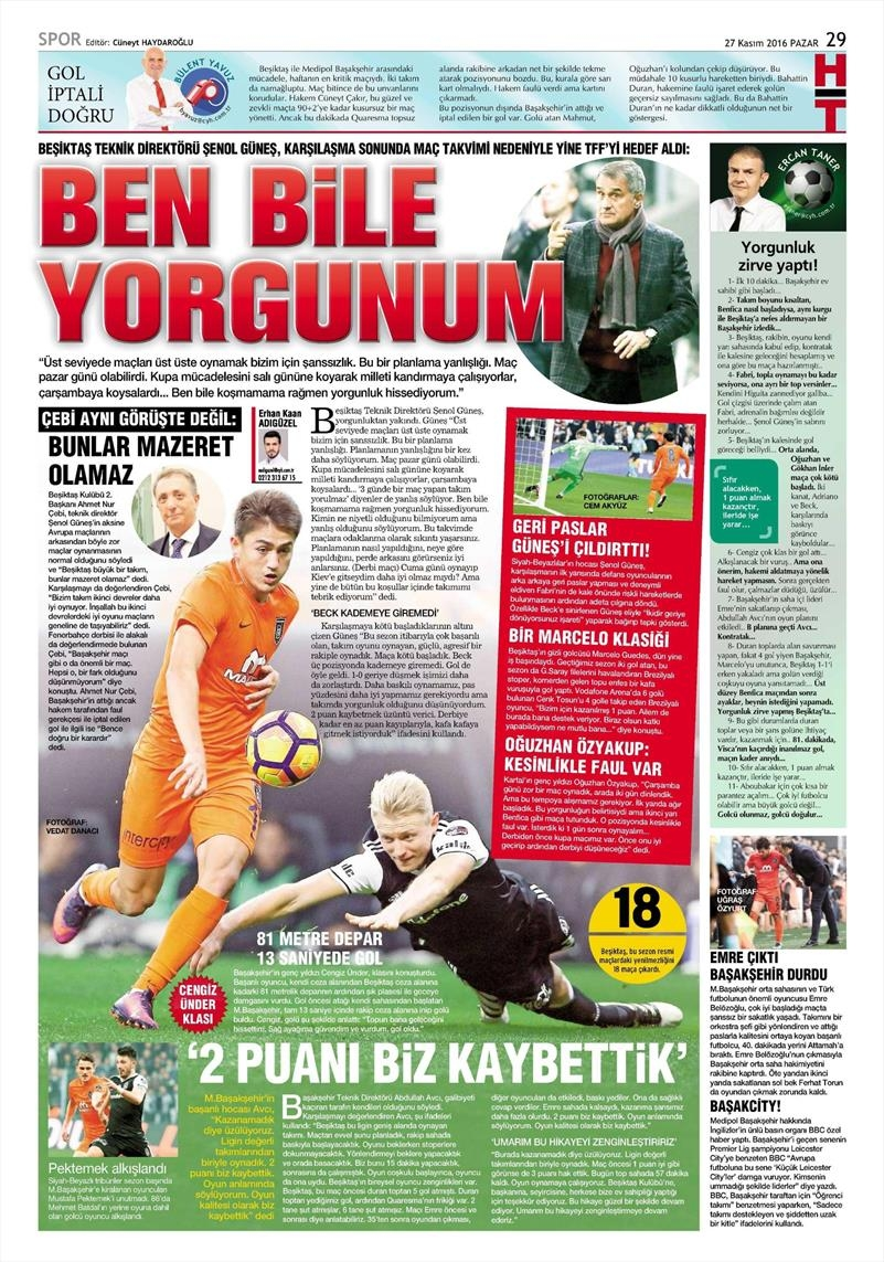 27 Kasım 2016 | Gazetelerin Beşiktaş sayfaları 9
