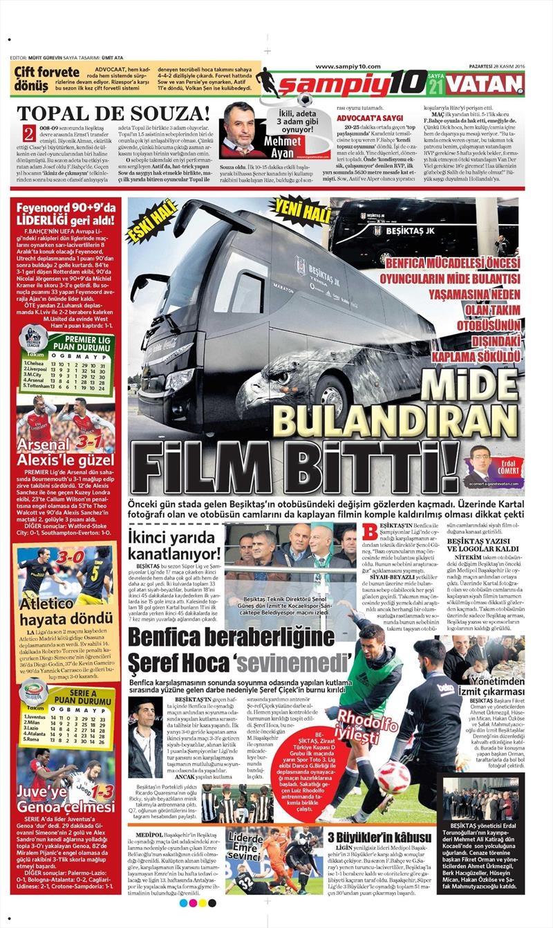 28 Kasım 2016 | Gazetelerin Beşiktaş sayfaları 1