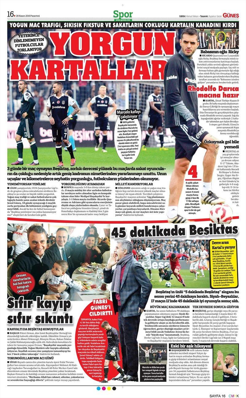 28 Kasım 2016   Gazetelerin Beşiktaş sayfaları 10