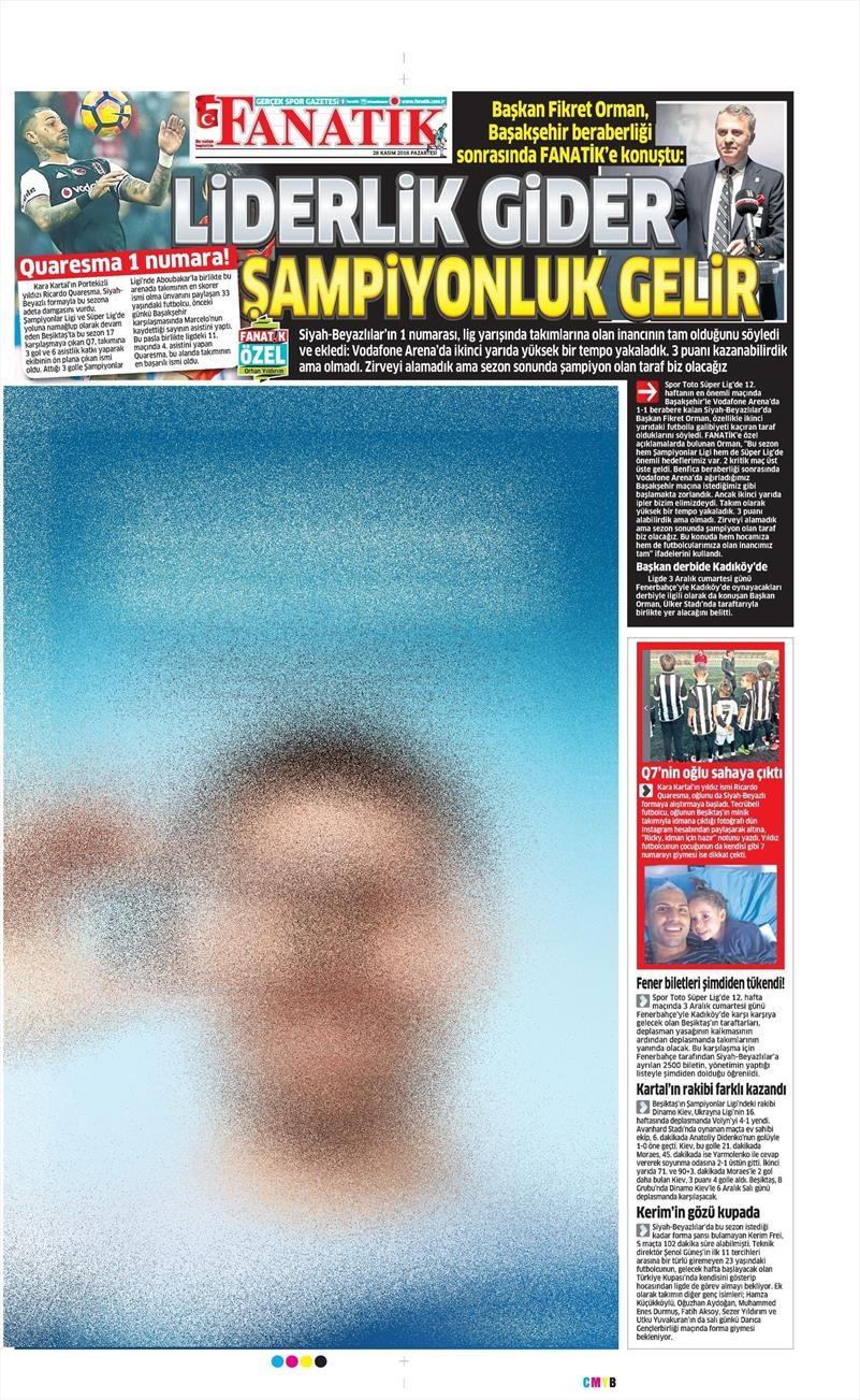 28 Kasım 2016   Gazetelerin Beşiktaş sayfaları 12