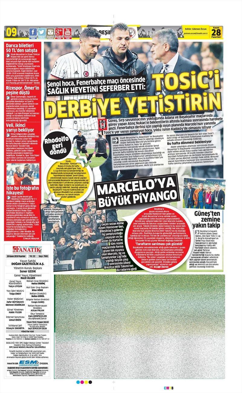 28 Kasım 2016 | Gazetelerin Beşiktaş sayfaları 13