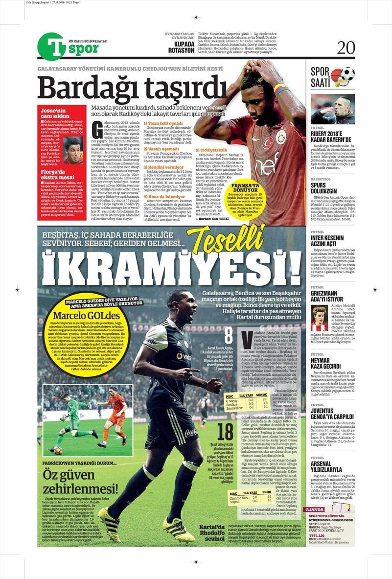 28 Kasım 2016   Gazetelerin Beşiktaş sayfaları 2