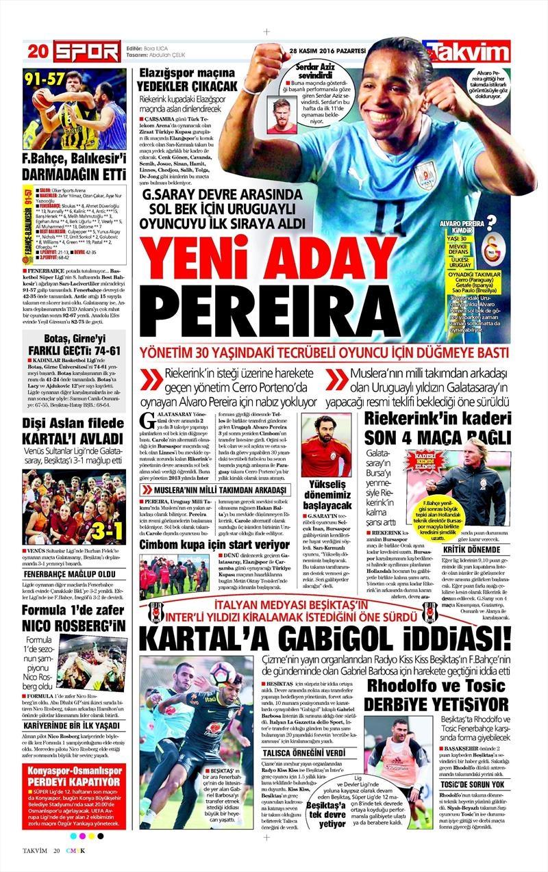 28 Kasım 2016 | Gazetelerin Beşiktaş sayfaları 3