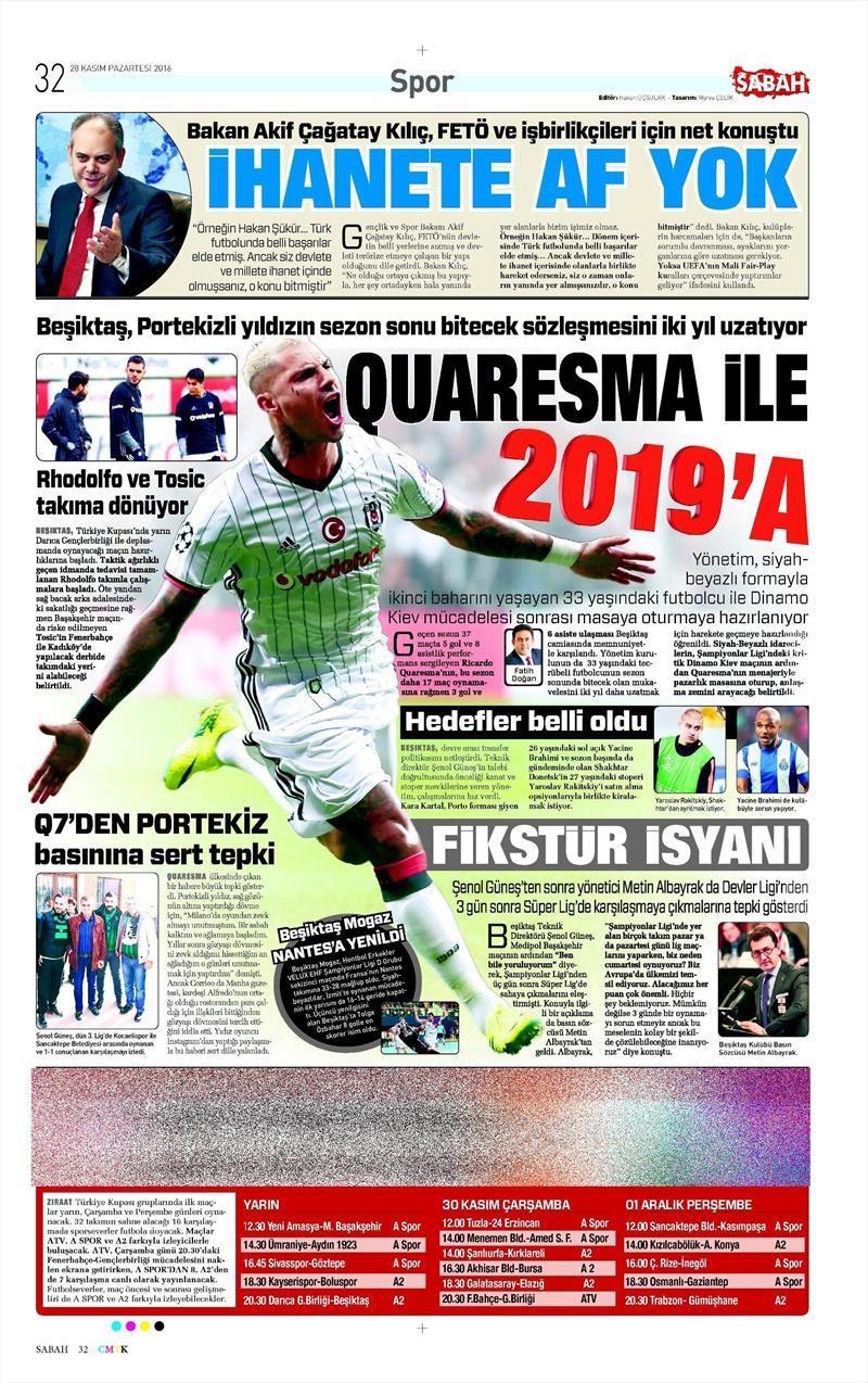 28 Kasım 2016 | Gazetelerin Beşiktaş sayfaları 5