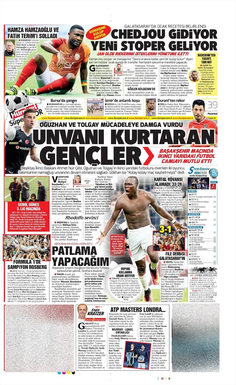 28 Kasım 2016 | Gazetelerin Beşiktaş sayfaları 8