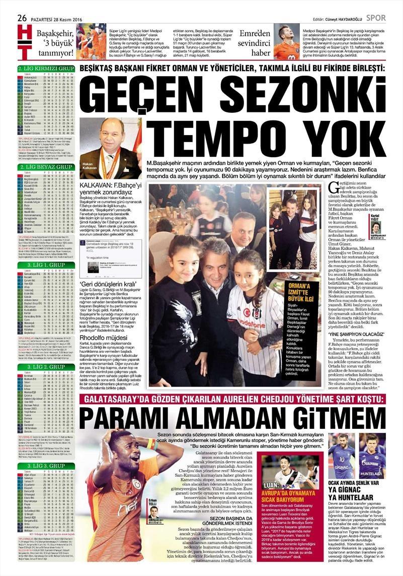 28 Kasım 2016 | Gazetelerin Beşiktaş sayfaları 9