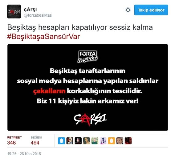 Çarşı'dan Beşiktaş sansürüne tepki 1