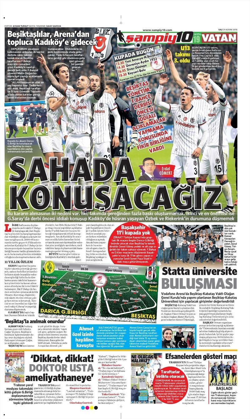 29 Kasım 2016 | Gazetelerin Beşiktaş manşetleri 1