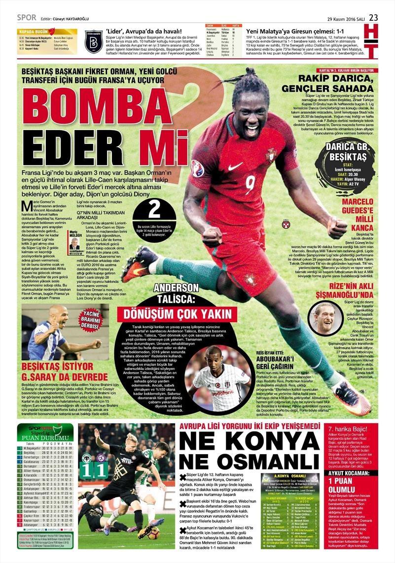 29 Kasım 2016   Gazetelerin Beşiktaş manşetleri 11