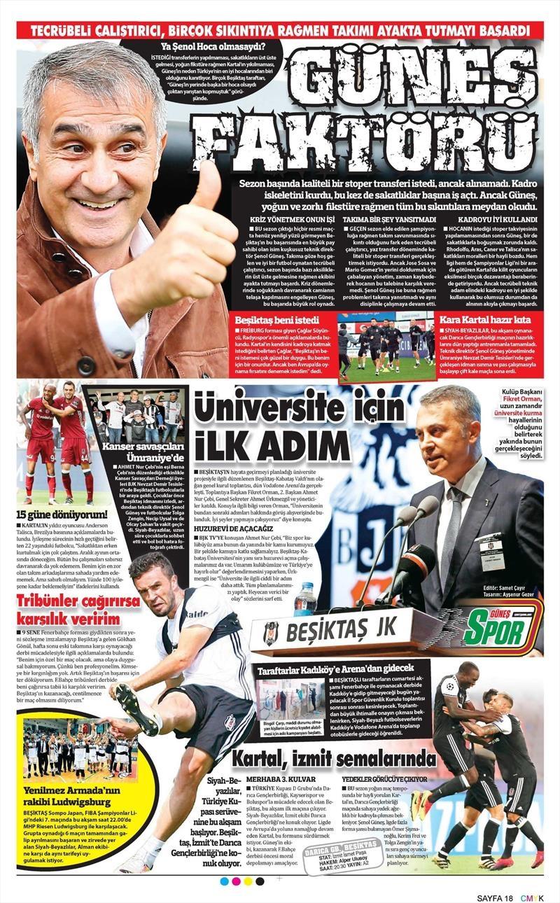 29 Kasım 2016 | Gazetelerin Beşiktaş manşetleri 13
