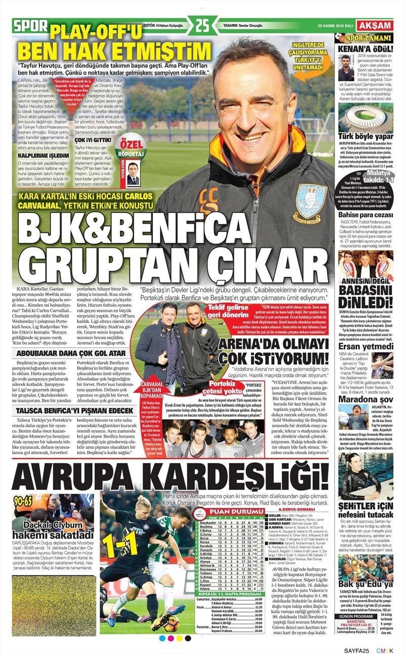 29 Kasım 2016 | Gazetelerin Beşiktaş manşetleri 15