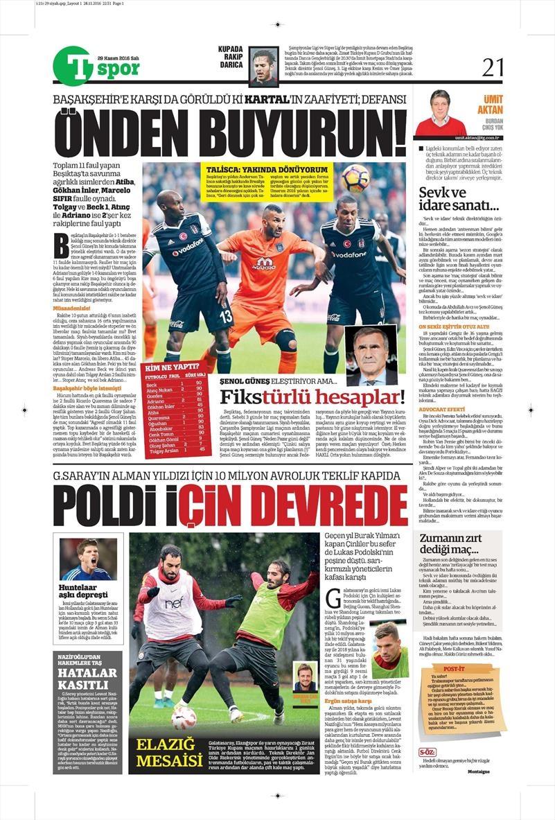 29 Kasım 2016 | Gazetelerin Beşiktaş manşetleri 2