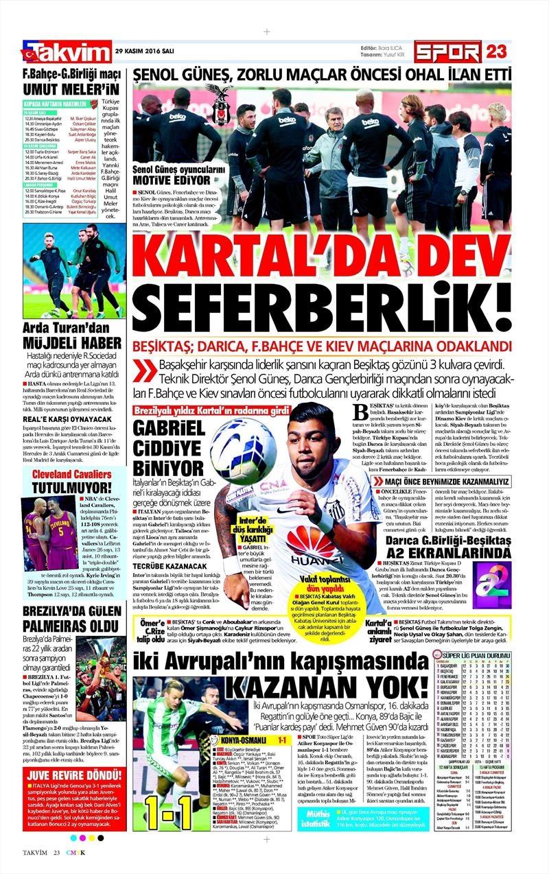 29 Kasım 2016 | Gazetelerin Beşiktaş manşetleri 3