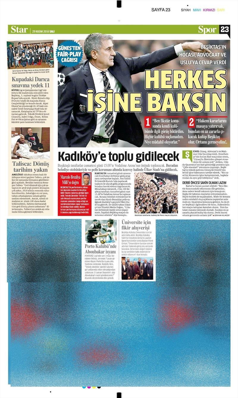 29 Kasım 2016 | Gazetelerin Beşiktaş manşetleri 4