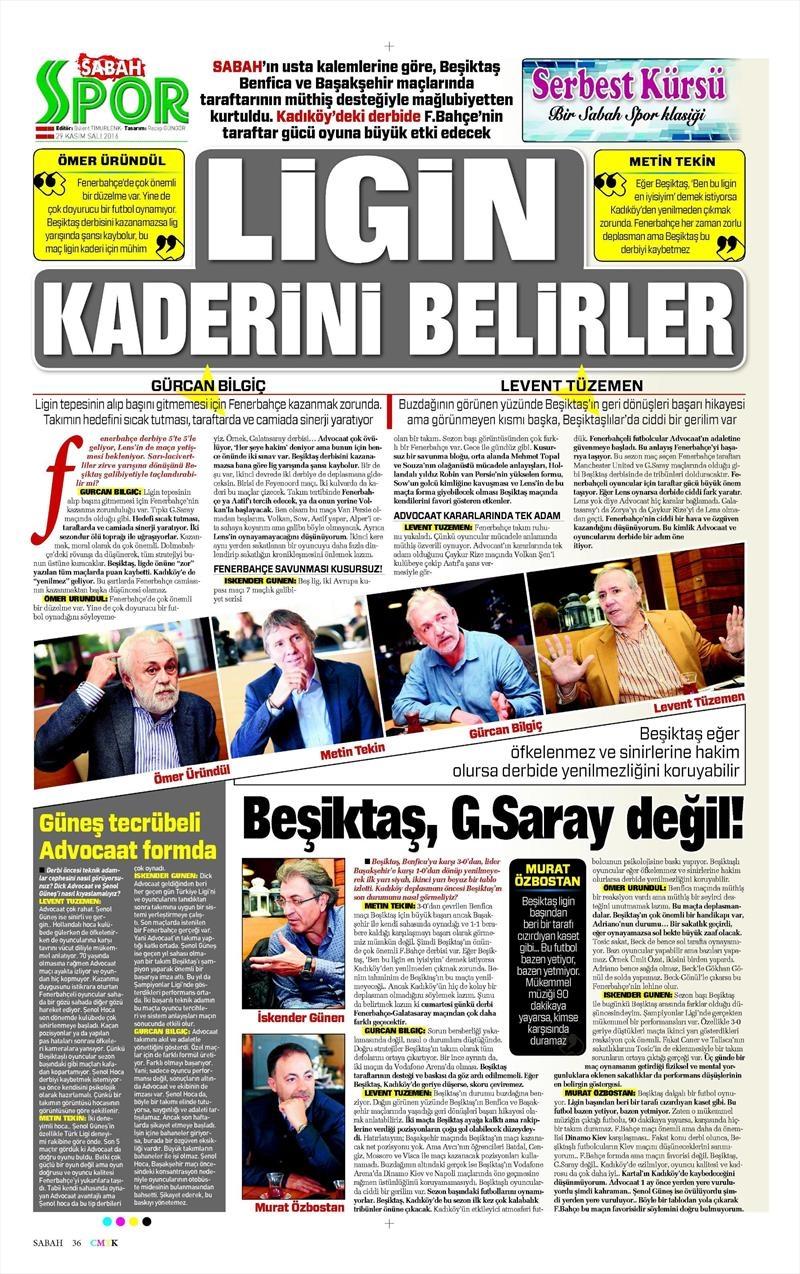 29 Kasım 2016   Gazetelerin Beşiktaş manşetleri 5