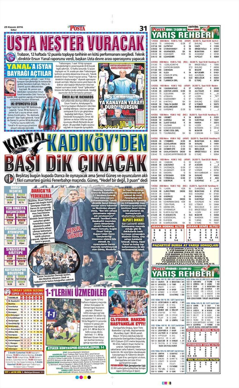 29 Kasım 2016   Gazetelerin Beşiktaş manşetleri 7