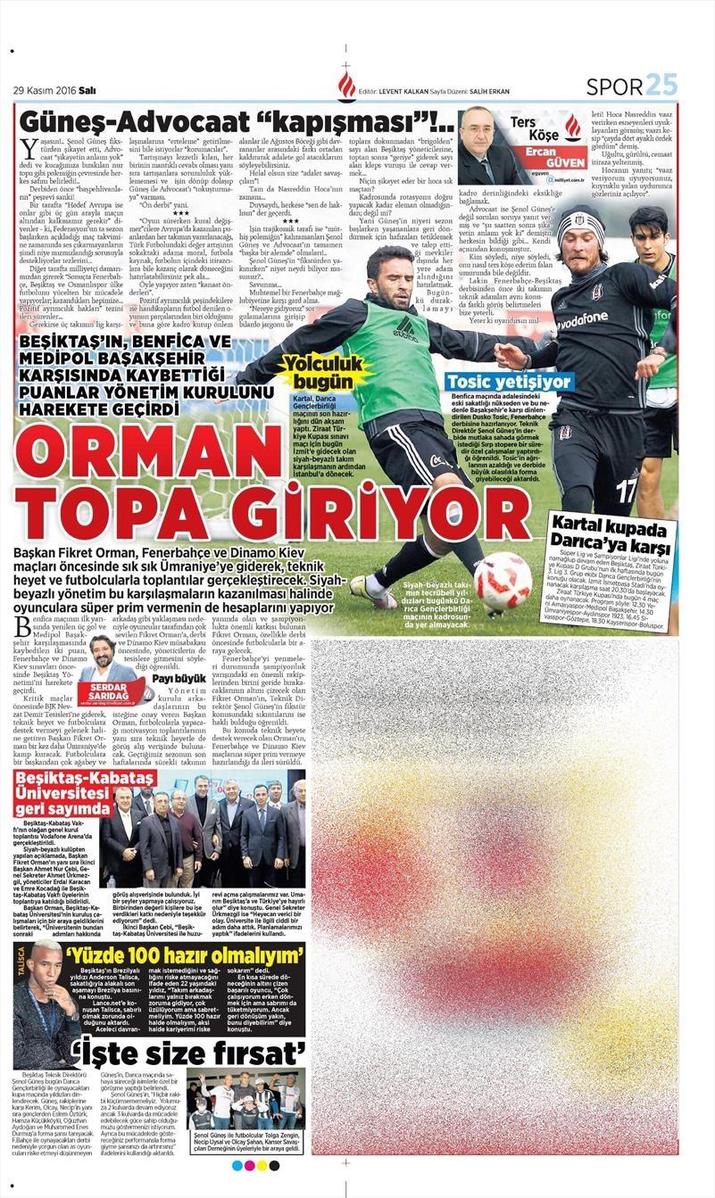 29 Kasım 2016 | Gazetelerin Beşiktaş manşetleri 8