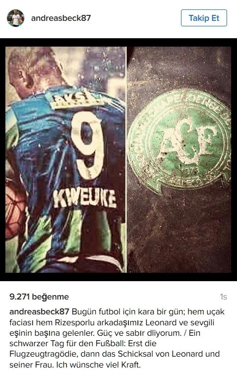 Beşiktaşlı futbolculardan sosyal medyada Chapecoense paylaşımları 1