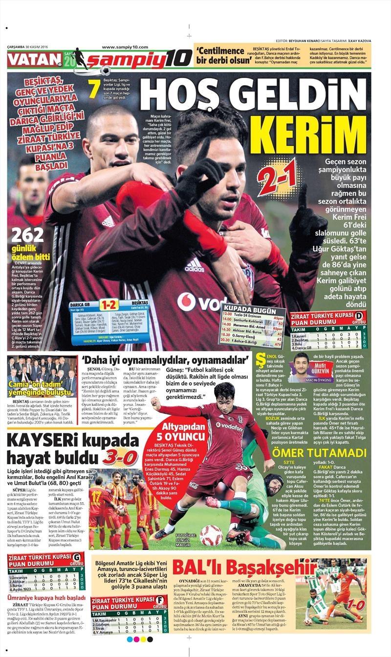 30 Kasım 2016   Gazetelerin Beşiktaş manşetleri 1