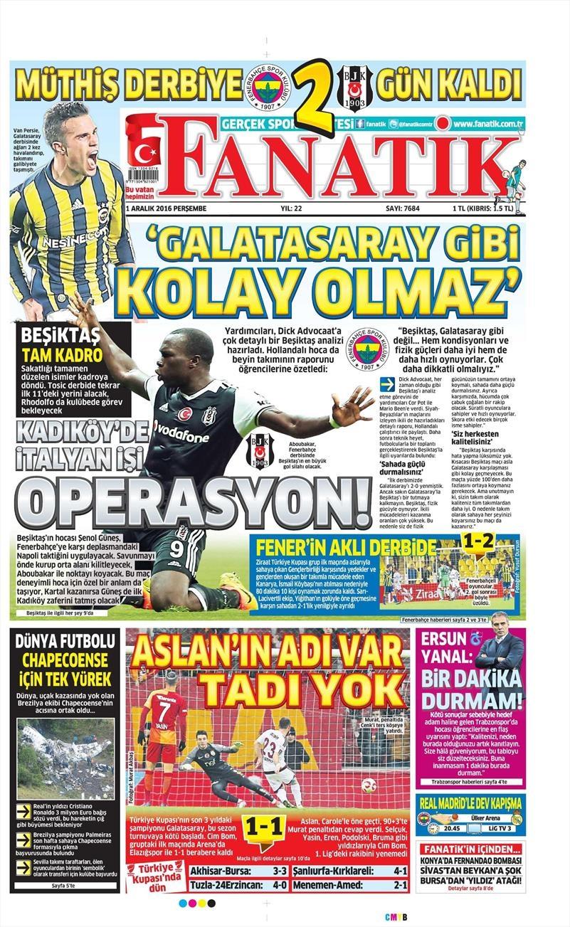 1 Aralık 2016 | Gazetelerin Beşiktaş manşetleri 1