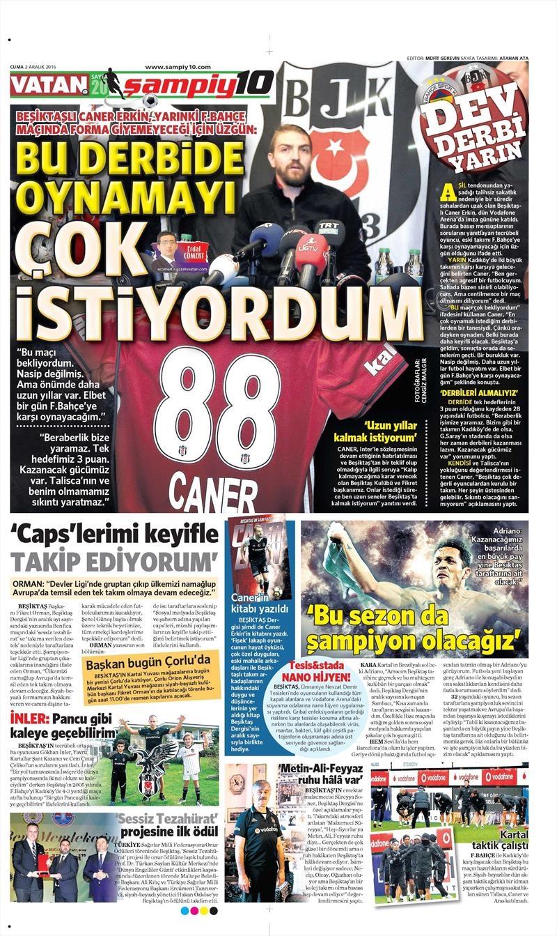2 Aralık 2016 | Gazetelerin Beşiktaş manşetleri 1