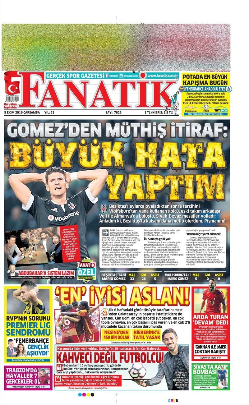 5 Ekim 2016 | Beşiktaş sayfaları 10