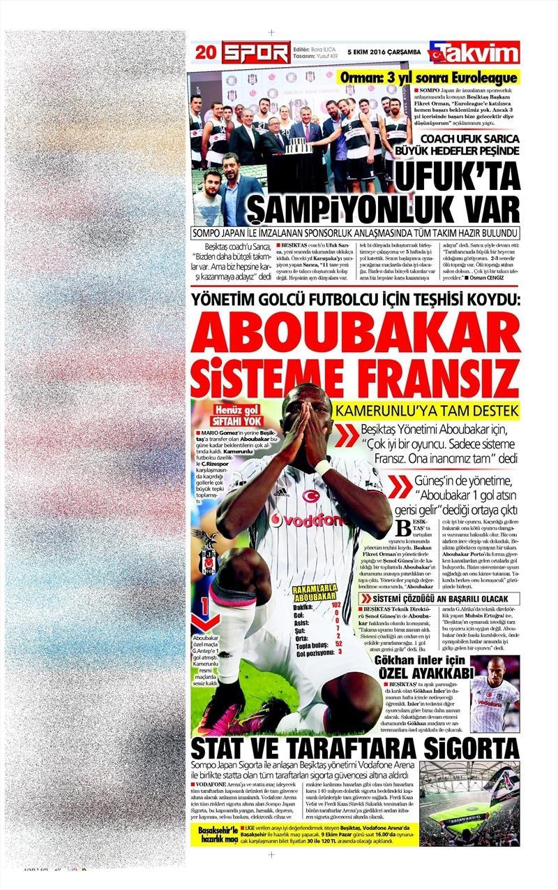 5 Ekim 2016 | Beşiktaş sayfaları 2