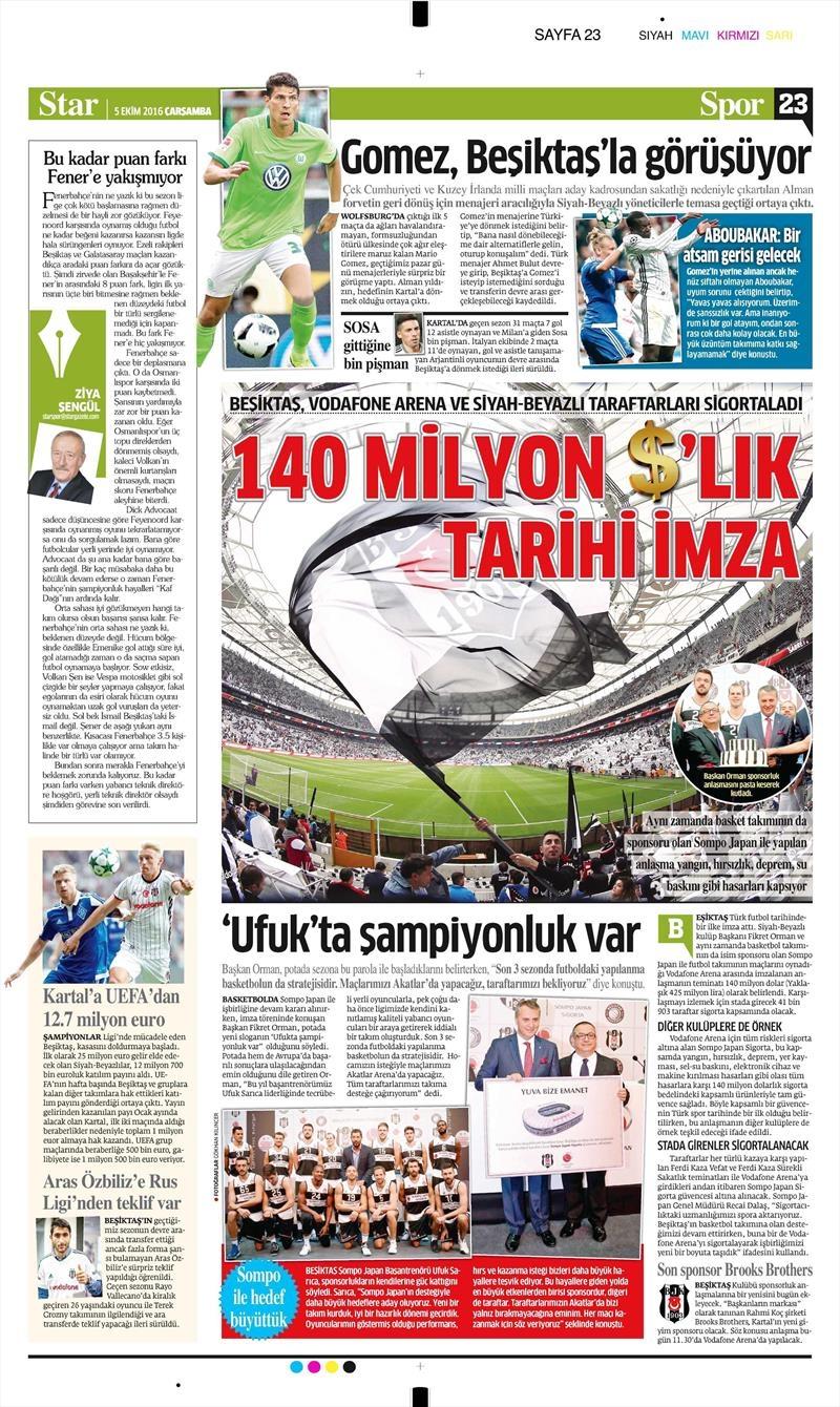 5 Ekim 2016 | Beşiktaş sayfaları 3