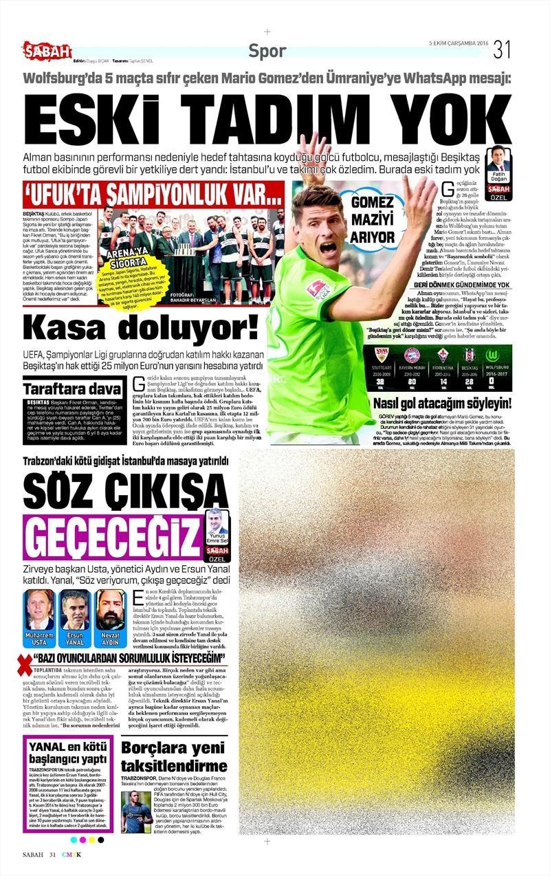5 Ekim 2016 | Beşiktaş sayfaları 4