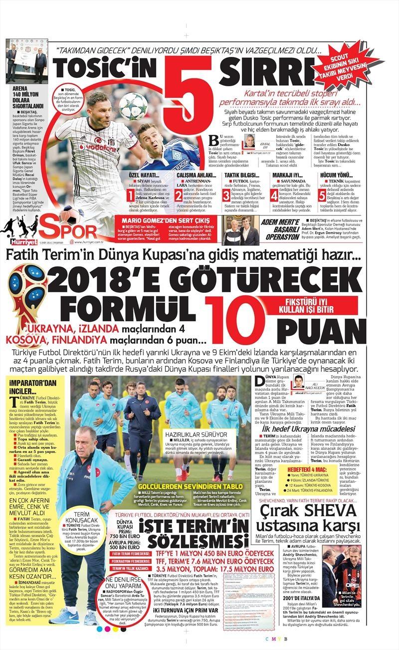 5 Ekim 2016   Beşiktaş sayfaları 5