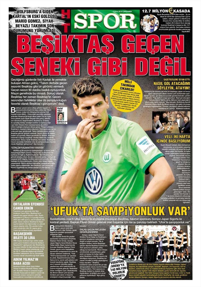 5 Ekim 2016 | Beşiktaş sayfaları 6