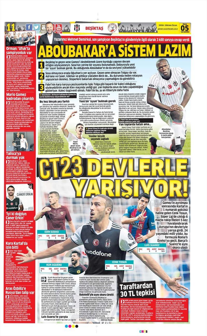 5 Ekim 2016 | Beşiktaş sayfaları 9