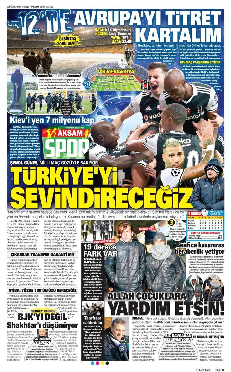 6 Aralık 2016 | İşte gazetelerin Beşiktaş manşetleri 1