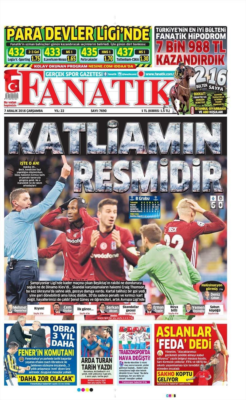 7 Aralık 2016 | İşte gazetelerin Beşiktaş manşetleri 1