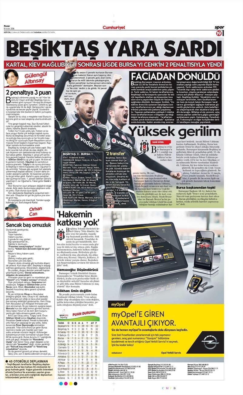 Beşiktaş'ın Bursaspor galibiyeti gazetelere böyle yansıdı 1