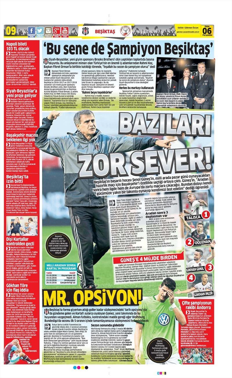 6 Ekim 2016 | Beşiktaş sayfaları 1