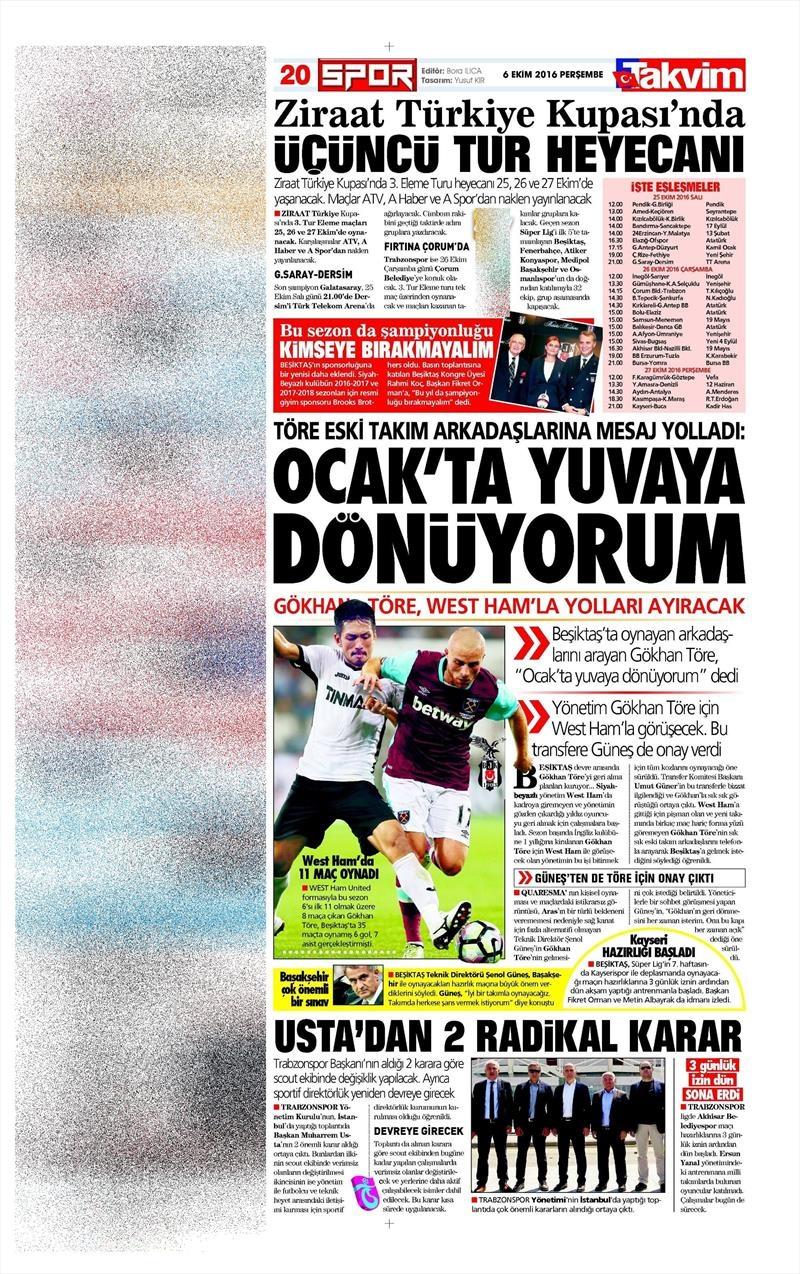 6 Ekim 2016 | Beşiktaş sayfaları 10