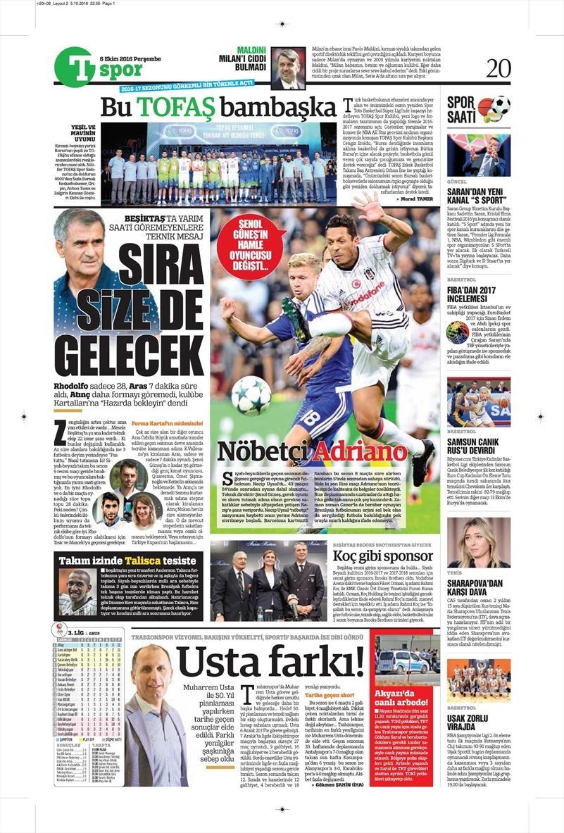 6 Ekim 2016   Beşiktaş sayfaları 11