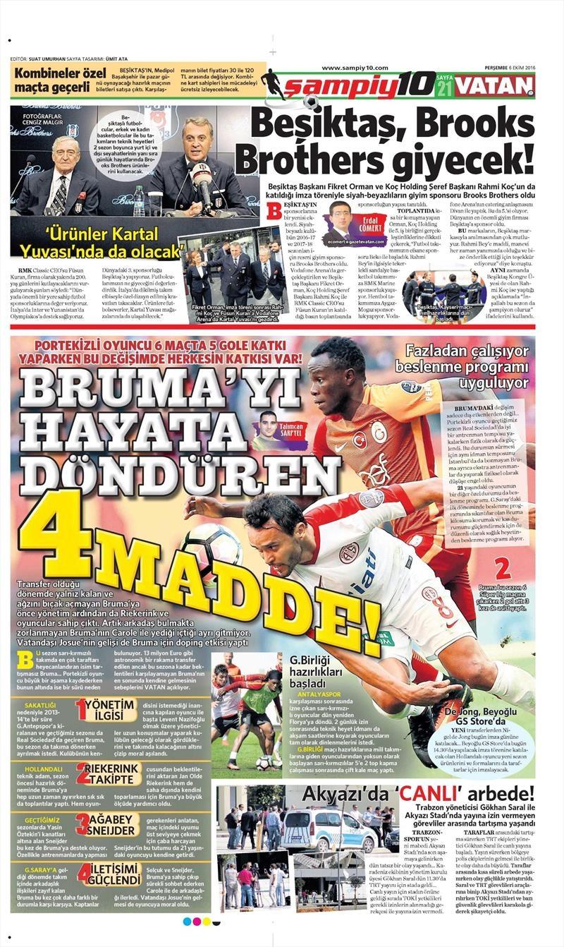 6 Ekim 2016 | Beşiktaş sayfaları 12
