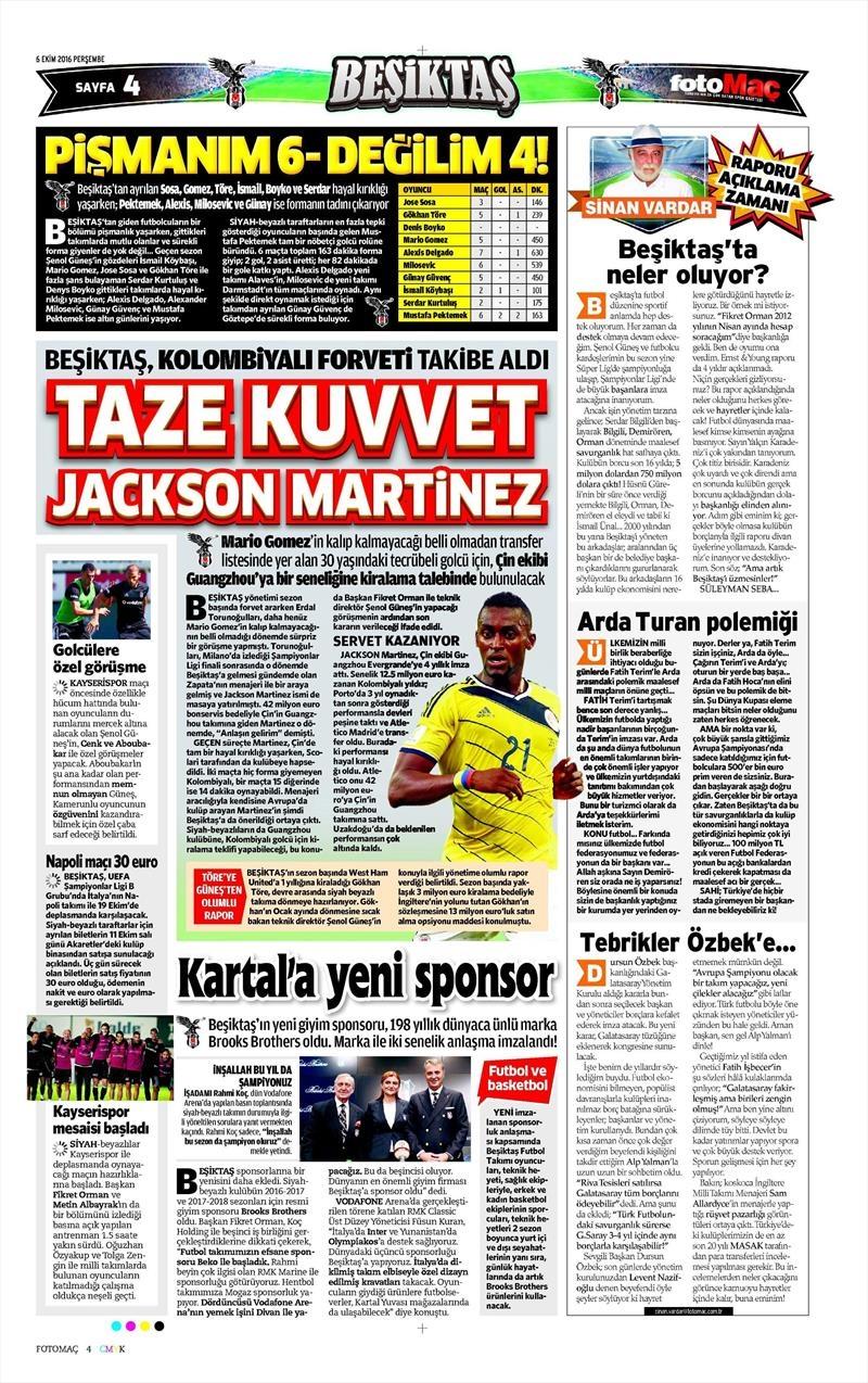 6 Ekim 2016 | Beşiktaş sayfaları 2