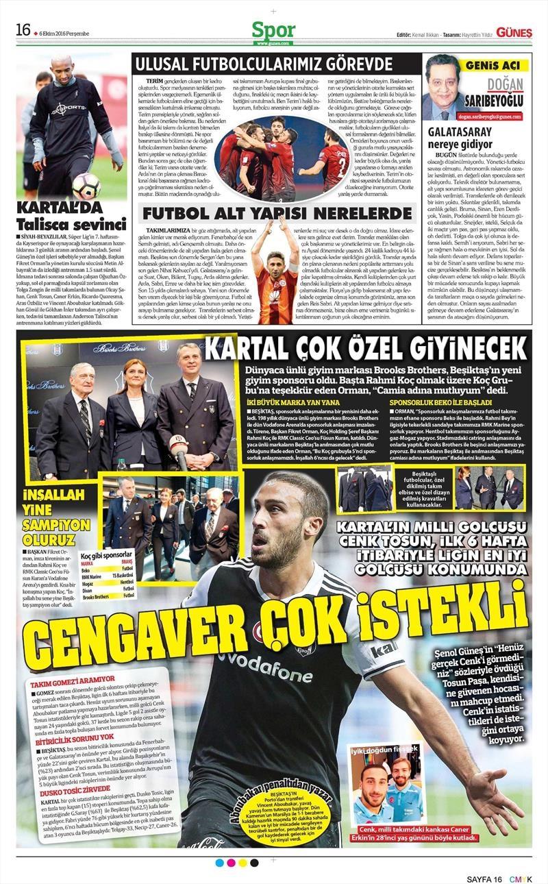 6 Ekim 2016   Beşiktaş sayfaları 3