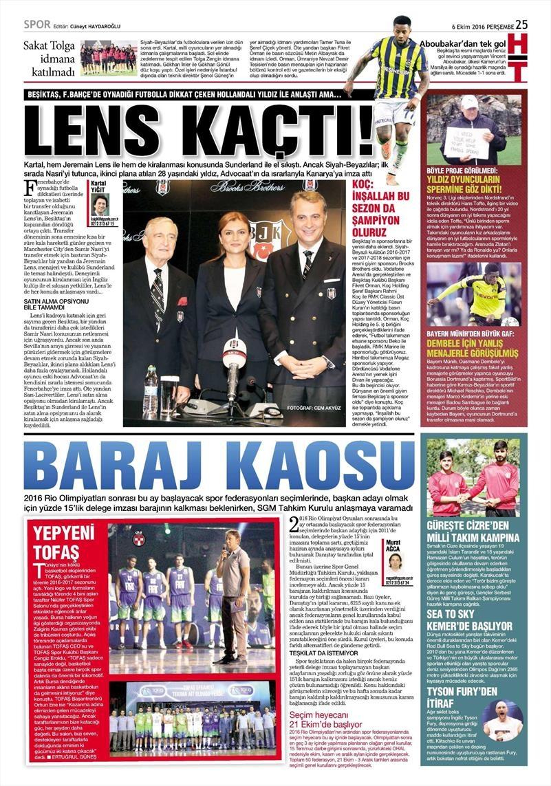 6 Ekim 2016 | Beşiktaş sayfaları 4