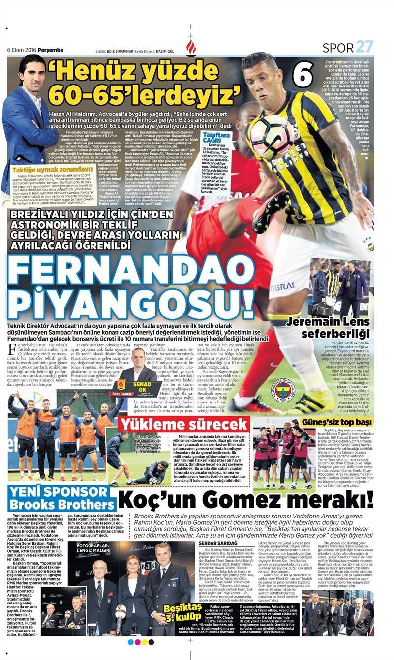 6 Ekim 2016 | Beşiktaş sayfaları 6