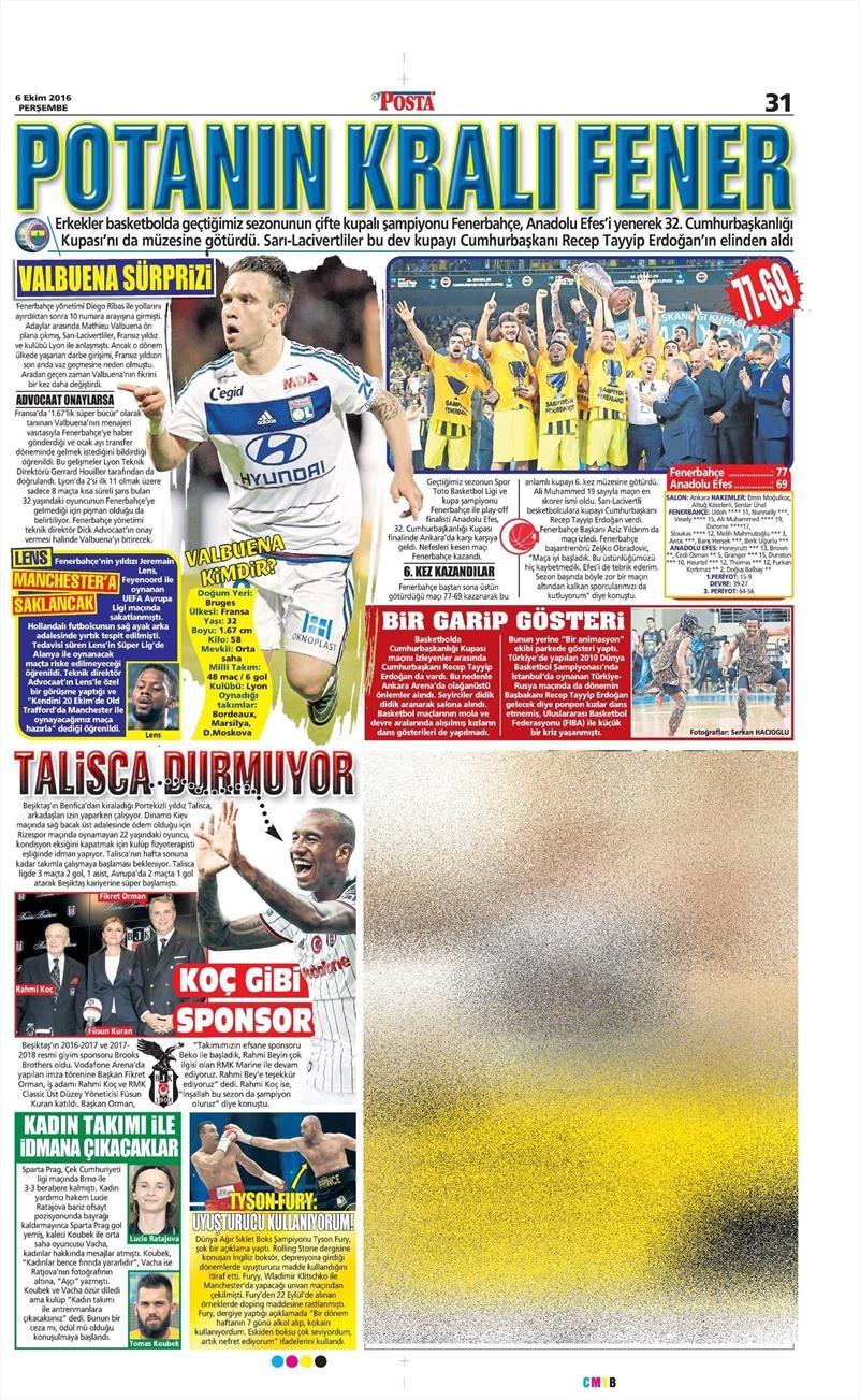 6 Ekim 2016 | Beşiktaş sayfaları 7