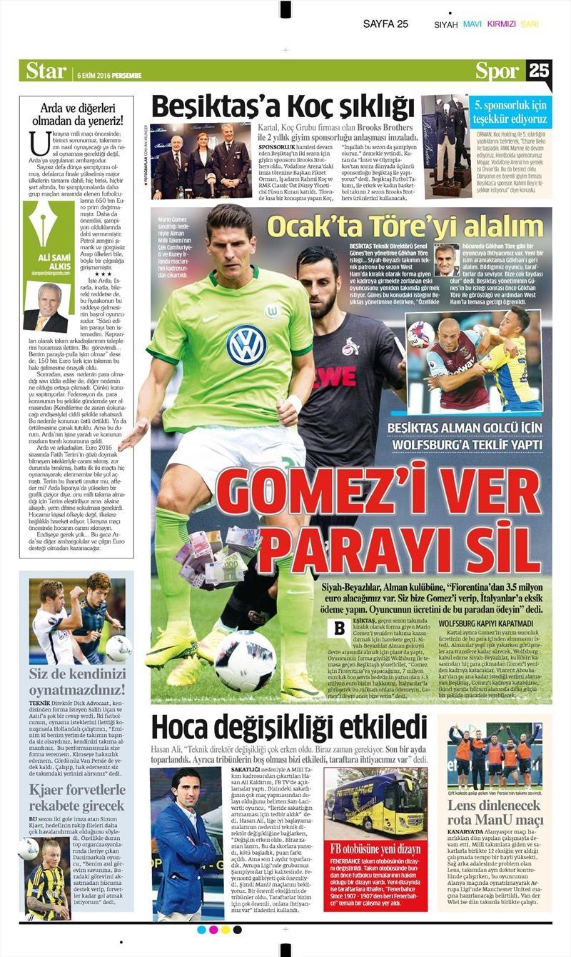 6 Ekim 2016 | Beşiktaş sayfaları 9