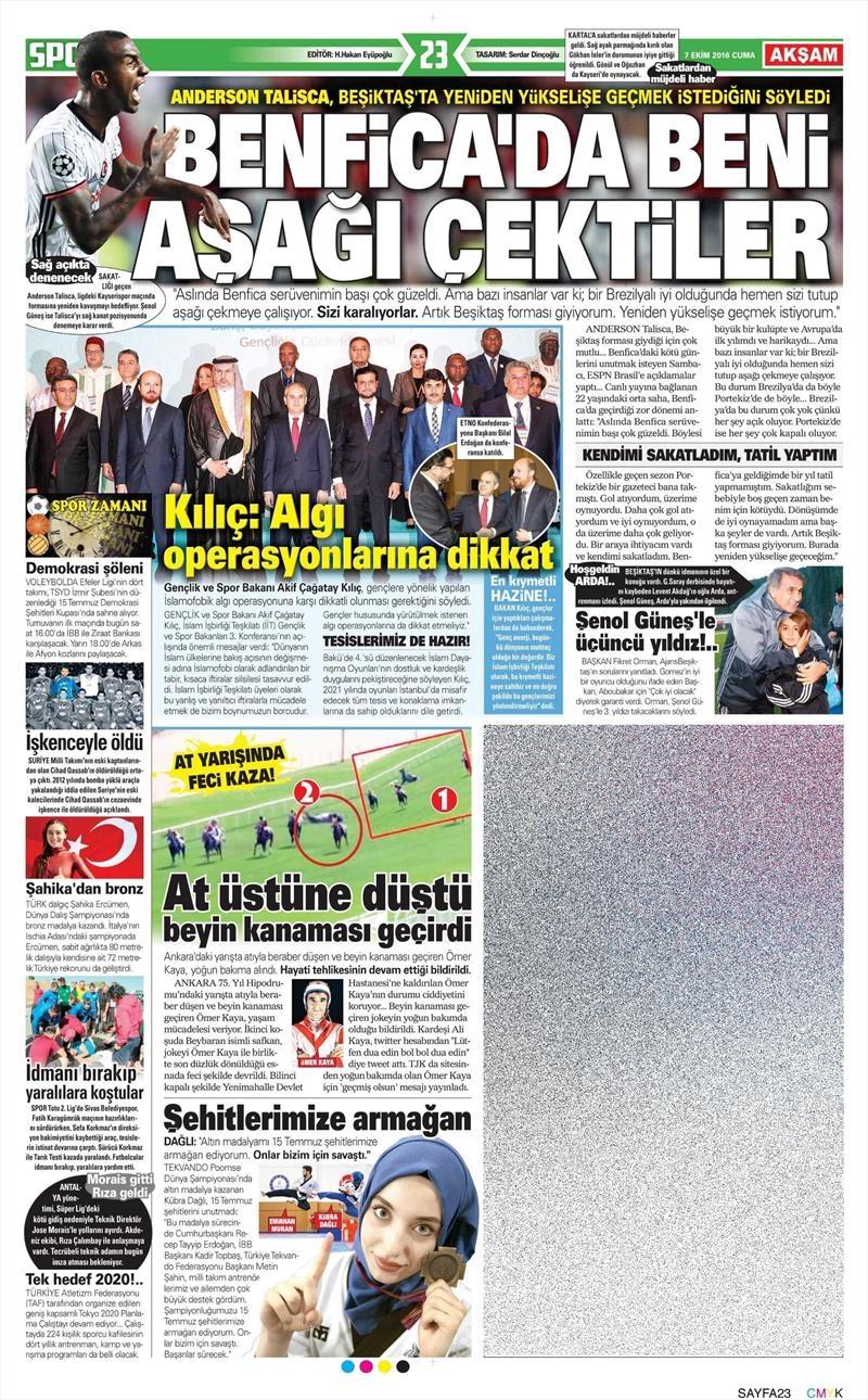 7 Ekim 2016 | Beşiktaş sayfaları 1