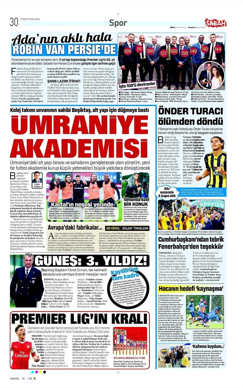 7 Ekim 2016   Beşiktaş sayfaları 10