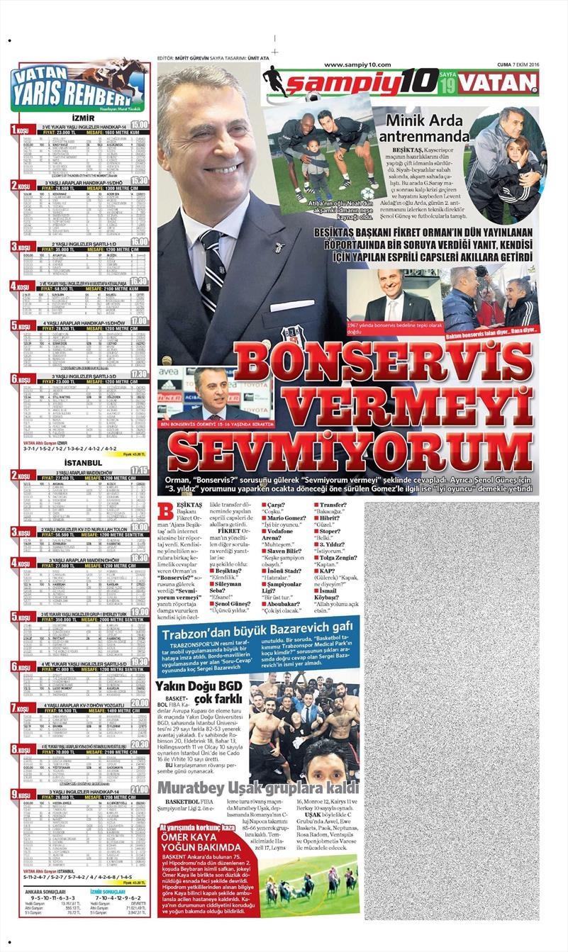 7 Ekim 2016 | Beşiktaş sayfaları 13