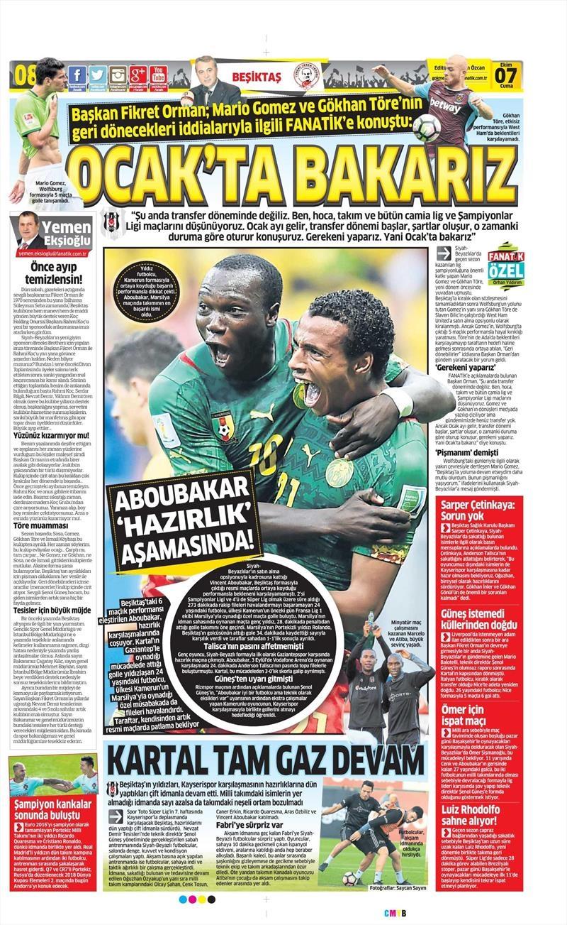 7 Ekim 2016 | Beşiktaş sayfaları 2