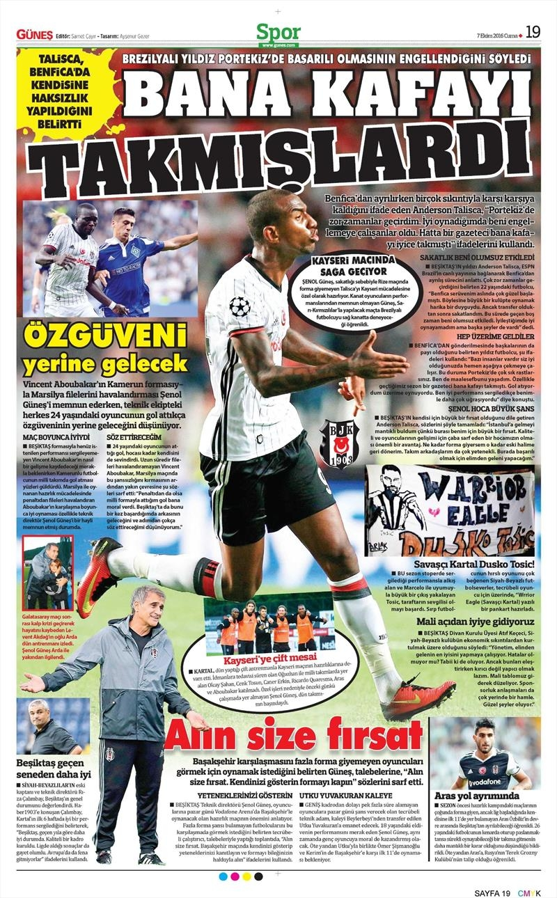 7 Ekim 2016 | Beşiktaş sayfaları 5